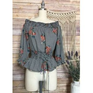 Floral Printed Lace Up Ruched Top Blouse